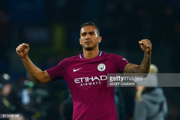 Manchester City's Brazilian defender Danilo gestures after the English FA Cup fourth round football match between Cardiff City and Manchester City at...