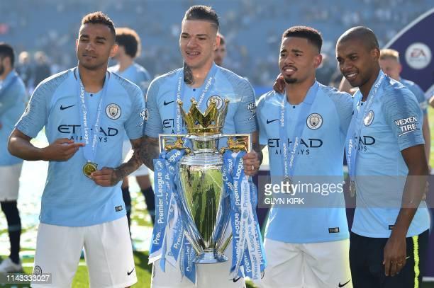 Manchester City's Brazilian defender Danilo Manchester City's Brazilian goalkeeper Ederson Manchester City's Brazilian striker Gabriel Jesus and...