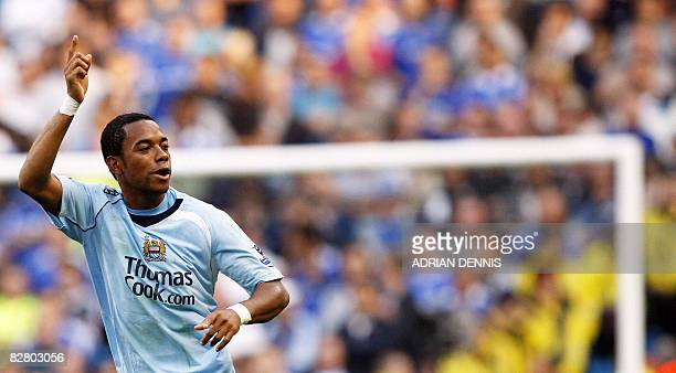 Manchester City's Brazilian forward Robinho celebrates after scoring against Chelsea during their English Premier League football match at The City...