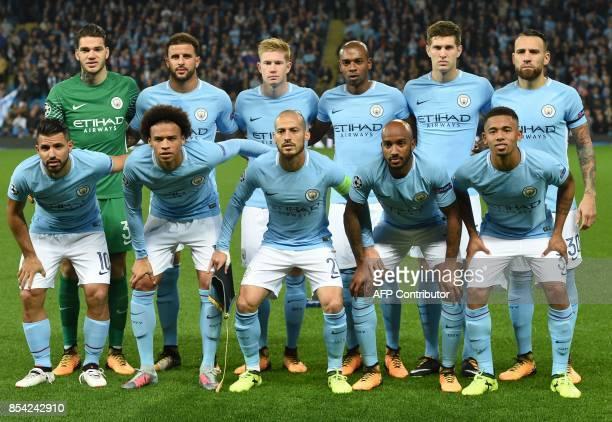 Manchester City's Brazilian goalkeeper Ederson Manchester City's English defender Kyle Walker Manchester City's Belgian midfielder Kevin De Bruyne...