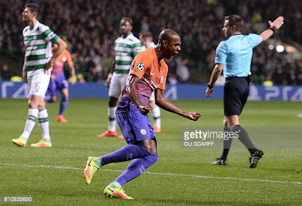 Manchester City's Brazilian midfielder Fernandinho celebrates scoring his team's first goal during the UEFA Champions League Group C football match...