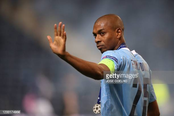 Manchester City's Brazilian midfielder Fernandinho reacts at the end of the UEFA Champions League final football match between Manchester City and...