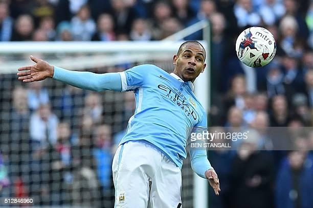 Manchester City's Brazilian midfielder Fernando controls the ball during the English League Cup final football match between Liverpool and Manchester...