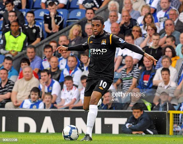 Manchester City's Brazilian player Robinho in action during the Premier League football match between Blackburn Rovers and Manchester City at Ewood...