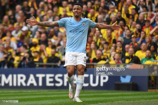 Manchester City's Brazilian striker Gabriel Jesus celebrates after he scores the team's second goal during the English FA Cup final football match...