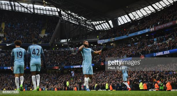 Manchester City's Brazilian striker Gabriel Jesus celebrates after scoring their late winning goal during the English Premier League football match...