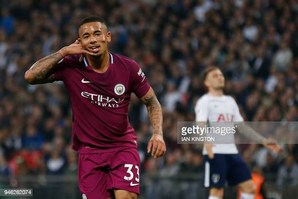 Manchester City's Brazilian striker Gabriel Jesus celebrates after scoring the opening goal of the English Premier League football match between...