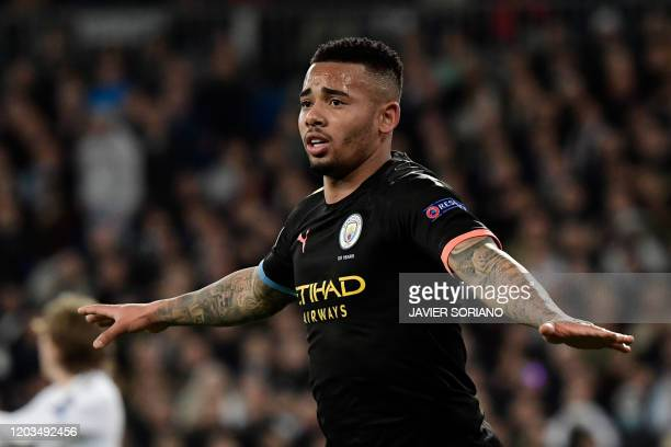 Manchester City's Brazilian striker Gabriel Jesus celebrates his goal during the UEFA Champions League round of 16 first-leg football match between...