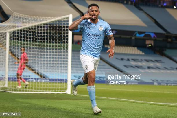 Manchester City's Brazilian striker Gabriel Jesus celebrates scoring his team's second goal during the UEFA Champions League round of 16 second leg...