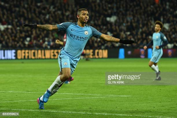 Manchester City's Brazilian striker Gabriel Jesus celebrates scoring his team's third goal during the English Premier League football match between...