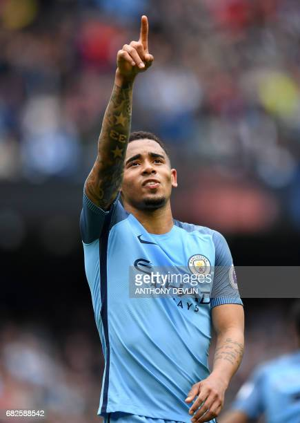 Manchester City's Brazilian striker Gabriel Jesus celebrates scoring their second goal during the English Premier League football match between...