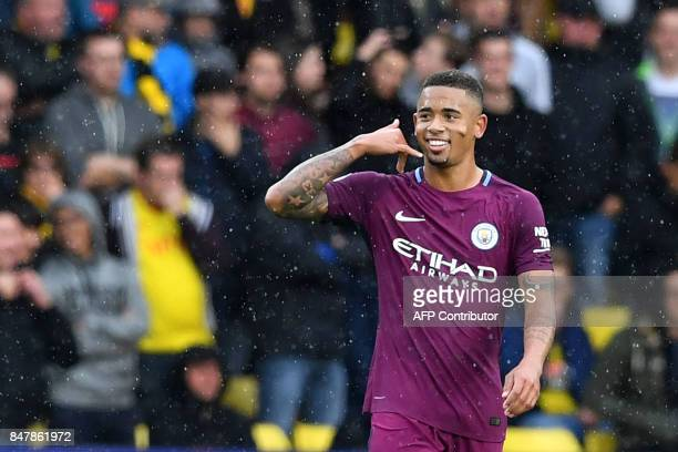 Manchester City's Brazilian striker Gabriel Jesus celebrates scoring the team's third goal during the English Premier League football match between...