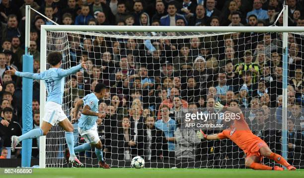 Manchester City's Brazilian striker Gabriel Jesus scores his team's second goal during the UEFA Champions League Group F football match between...