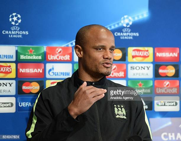 Manchester City's captain Vincent Kompany attends press conference prior to the UEFA Champions League semifinal match at the Etihad Stadium in...
