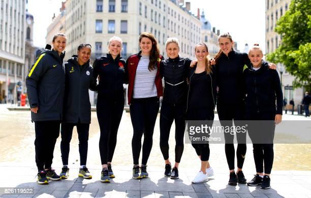 Manchester City's Carli Lloyd Demi Stokes Ellie Roebuck Jennifer Beatie Steph Houghton Kosovare Asllani Jill Scott and Georgia Stanway in Lyon