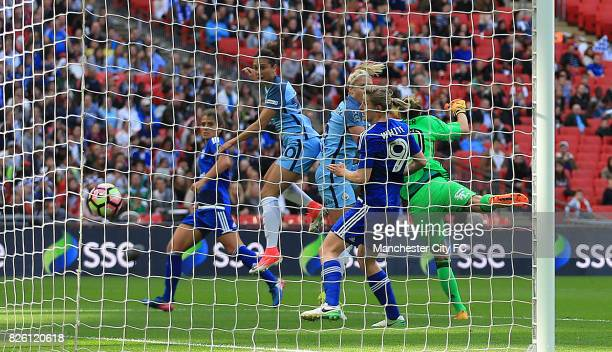 Manchester City's Carli Lloyd scores her side's third goal of the game
