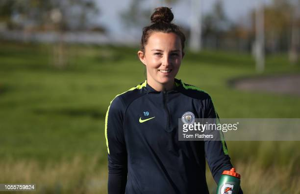 Manchester City's Caroline Weir arrives at training at Manchester City Football Academy on October 31 2018 in Manchester England