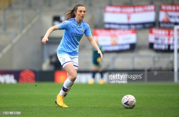 Manchester City's Caroline Weir in action during the Women's FA Cup Fourth Round between Manchester United Women v Manchester City Women at Leigh...