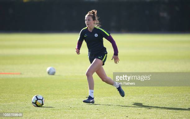 Manchester City's Caroline Weir in action during training at Manchester City Football Academy on October 31 2018 in Manchester England