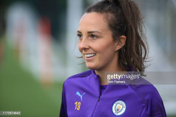 Manchester City's Caroline Weir in action during training at Manchester City Football Academy on September 05 2019 in Manchester England