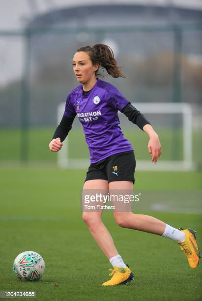 Manchester City's Caroline Weir in action during training at Manchester City Football Academy on February 05 2020 in Manchester England