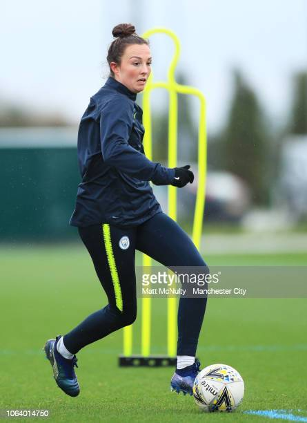 Manchester City's Caroline Weir runs with the ball during the training session at Manchester City Football Academy on November 20 2018 in Manchester...
