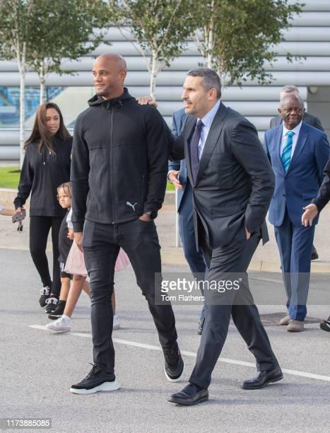 Manchester City's chairman Khaldoon Al Mubarak unveils Vincent Kompany Crescent and mosaic with former Manchester City footballer Vincent Kompany at...