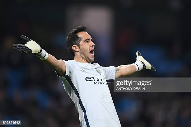 Manchester City's Chilean goalkeeper Claudio Bravo reacts during the English Premier League football match between Manchester City and Watford at the...