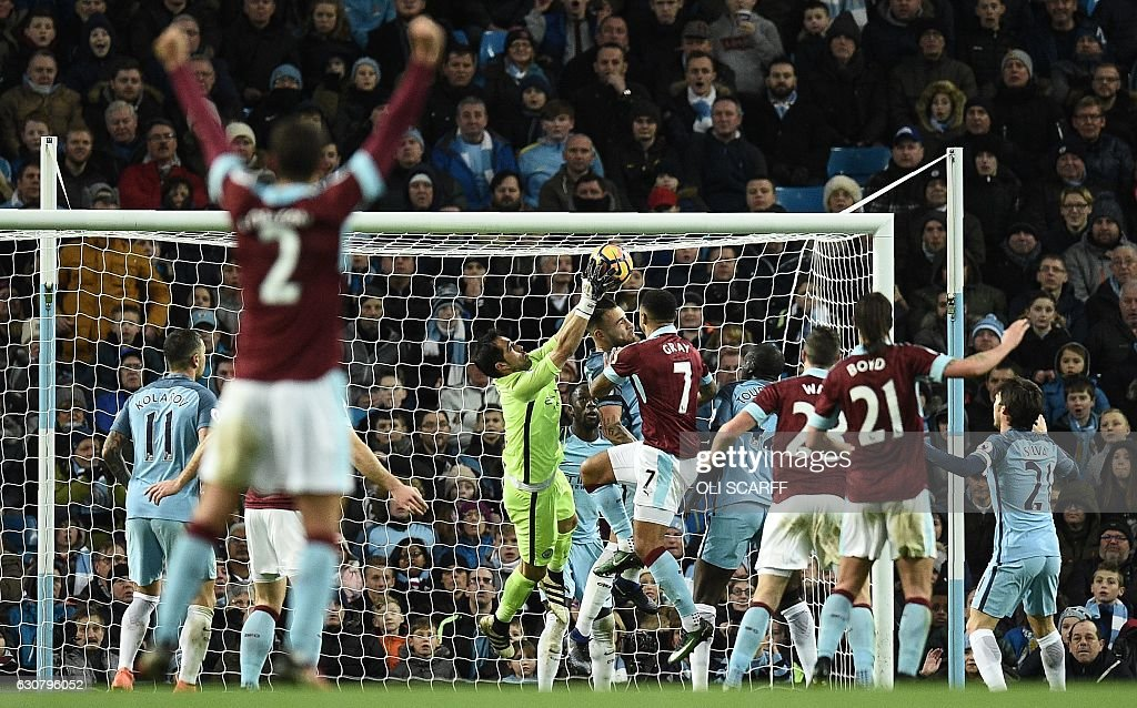 Manchester City's Chilean goalkeeper Claudio Bravo (C) scrambles for the ball during a mele which resulted in a goal by Burnley's English defender Ben Mee during the English Premier League football match between Manchester City and Burnley at the Etihad Stadium in Manchester, north west England, on January 2, 2017. / AFP / Oli SCARFF / RESTRICTED TO EDITORIAL USE. No use with unauthorized audio, video, data, fixture lists, club/league logos or 'live' services. Online in-match use limited to 75 images, no video emulation. No use in betting, games or single club/league/player publications. /