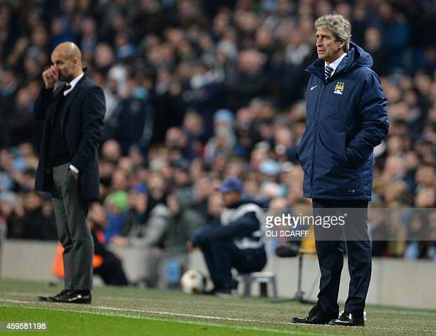 Manchester City's Chilean manager Manuel Pellegrini and Bayern Munich's Spanish head coach Pep Guardiola watch from their technical areas on the...