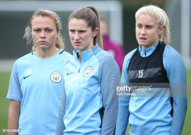 Manchester City's Claire Emslie Abi McManus and Steph Houghton during training at Manchester City Football Academy on November 15 2017 in Manchester...