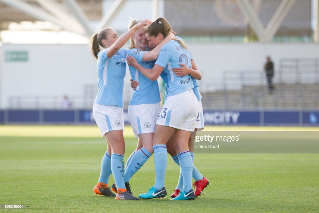 Manchester City's Claire Emslie celebrates scoring the teams first goal in action during the FA WSL match between Manchester City Women and Yeovil Town Ladies at The Academy Stadium on May 16, 2018 in Manchester, England.