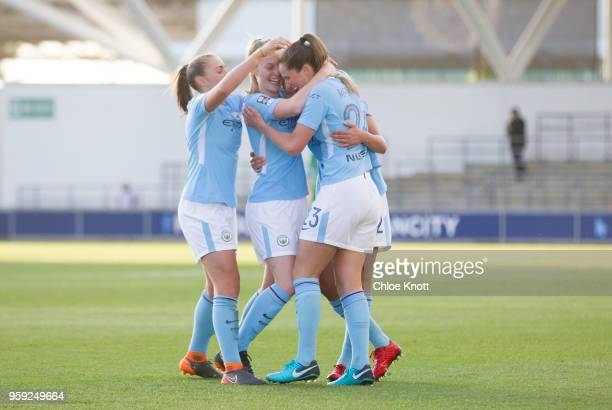Manchester City's Claire Emslie celebrates scoring the teams first goal in action during the FA WSL match between Manchester City Women and Yeovil...