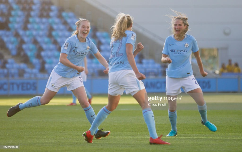 Manchester City's Claire Emslie celebrates scoring the teams first goal during the FA WSL match between Manchester City Women and Yeovil Town Ladies at The Academy Stadium on May 16, 2018 in Manchester, England.