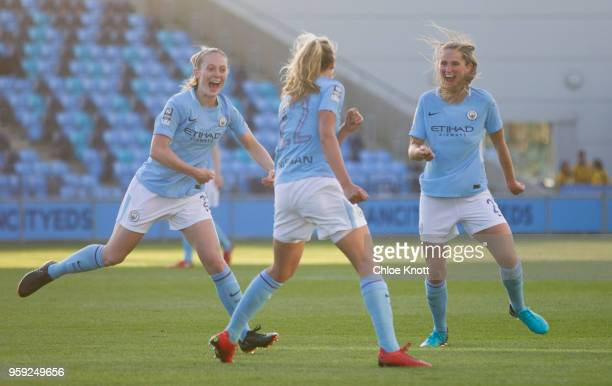 Manchester City's Claire Emslie celebrates scoring the teams first goal during the FA WSL match between Manchester City Women and Yeovil Town Ladies...