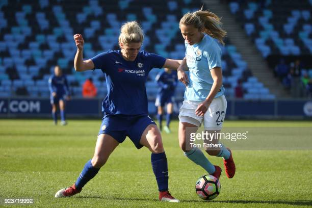 Manchester City's Claire Emslie competes with Millie Bright of Chelsea during the WSL 1 match between Manchester City Women and Chelsea Ladies at...