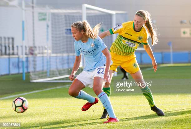 Manchester City's Claire Emslie in action during the FA WSL match between Manchester City Women and Yeovil Town Ladies at The Academy Stadium on May...