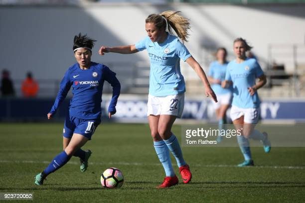Manchester City's Claire Emslie in action during the WSL 1 match between Manchester City Women and Chelsea Ladies at Manchester City Football Academy...