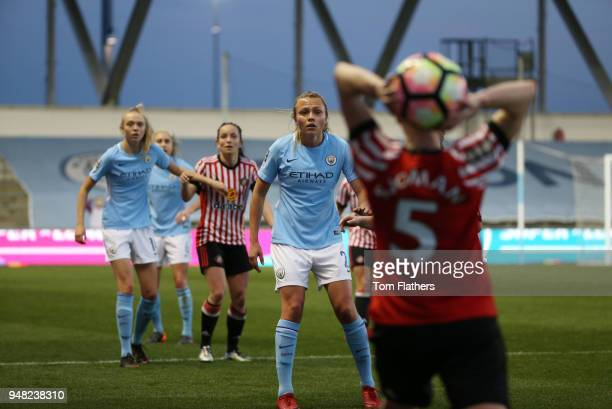 Manchester City's Claire Emslie in action during the WSL fixture between Manchester City Women and Sunderland Ladies at The Academy Stadium on April...