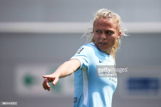 Manchester City's Claire Emslie in action during the WSL match between Manchester City Women and Everton Ladies at The Academy Stadium on May 20 2018...