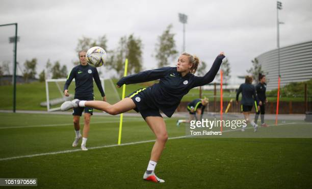 Manchester City's Claire Emslie in action during training at Manchester City Football Academy on October 12 2018 in Manchester England