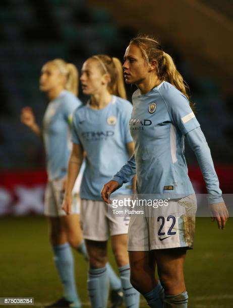 Manchester City's Claire Emslie Keira Walsh and Steph Houghton in action during the UEFA Women's Champions League match between Manchester City Women...