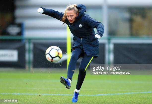 Manchester City's Claire Emslie shoots during the training session at Manchester City Football Academy on November 20 2018 in Manchester England