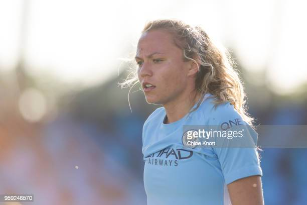 Manchester City's Claire Emslielooks on during the FA WSL match between Manchester City Women and Yeovil Town Ladies at The Academy Stadium on May 16...
