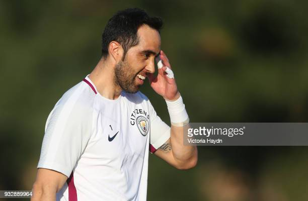 Manchester City's Claudio Bravo during the training session on March 16 2018 in Abu Dhabi United Arab Emirates