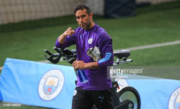 Manchester City's Claudio Bravo in action during training at Manchester City Football Academy on June 03 2020 in Manchester England
