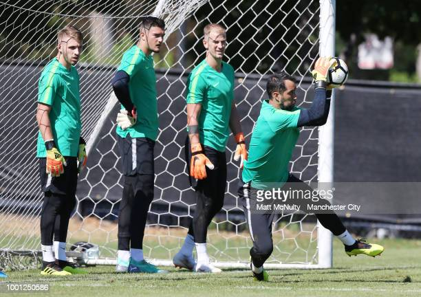 Manchester City's Claudio Bravo makes a save during training at University of Illinois on July 18 2018 in Chicago Illinois