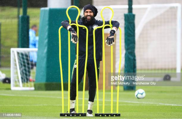 Manchester City's Claudio Bravo poses during the training session at Manchester City Football Academy on May 09 2019 in Manchester England