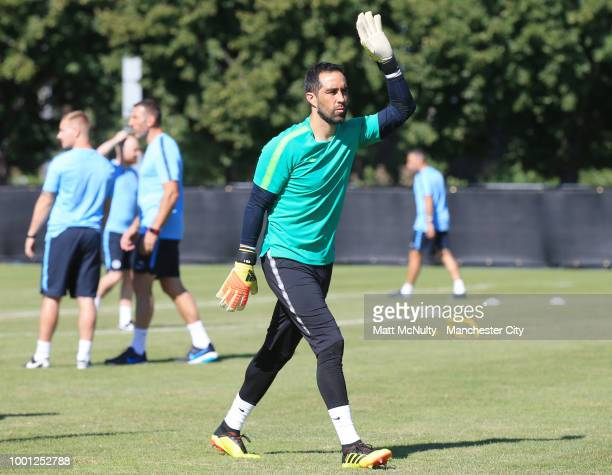 Manchester City's Claudio Bravo warms up during training at University of Illinois on July 18 2018 in Chicago Illinois