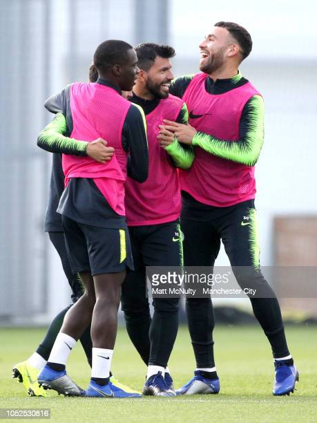 Manchester City's Claudio Gomez Sergio Aguero and Nicolas Otamendi in action during training at Manchester City Football Academy on October 19 2018...